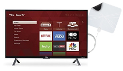 TCL 28 Roku Smart LED TV with Winegard FlatWave Digital Indoor HDTV Antenna
